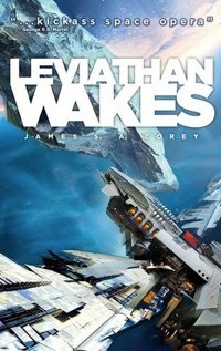 Cover of Leviathan Wakes showing a spaceship approaching a human-developed asteroid.