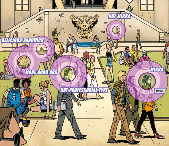 spread of a comic with a crowded college quad with purple bullseyes highlighting things Kate is interested in