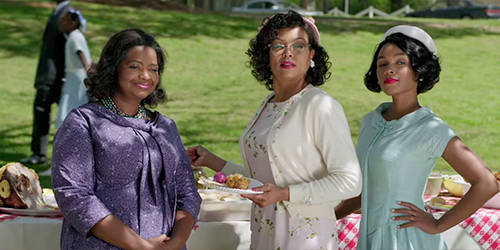 Dorothy, Katherine, and Mary at a church picnic buffet in nice dresses looking offscreen