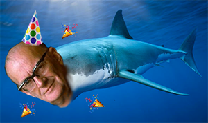 Arthur Clarke's head on a shark's body. Don't ask.